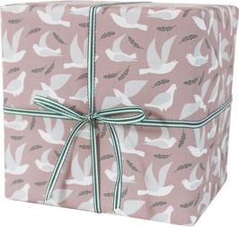 Geschenkpapier Tauben, weiss (rosa Hintergrund) (3 Bogen)
