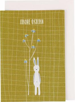 "Klappkarte Hase stehend, senf - ""Frohe Ostern"""