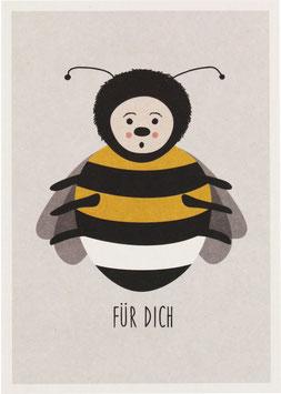 """Postkarte Hummel, weiss - """"Für Dich"""""""