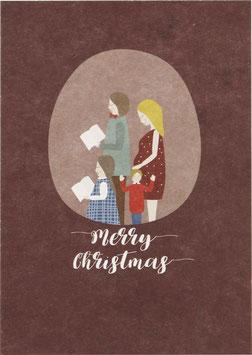 Postkarte Weihnachtsfamilie, aubergine - Merry Christmas