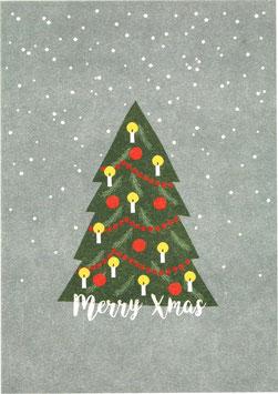 Postkarte Weihnachtsbaum und Schneeflocken - Merry Xmas