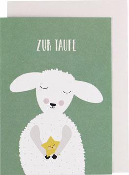 """Klappkarte Lamm, grün - """"Zur Taufe"""""""