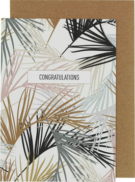 Klappkarte Palmblätter (groß), schwarz/rosa/hellblau - Congratulations