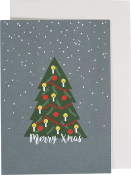 """Klappkarte Weihnachtsbaum und Schneeflocken, winterblau - """"Merry Xmas"""""""