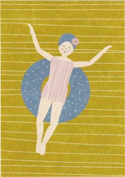 Postkarte Schwimmerin im Teich (ohne Text)