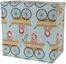 Geschenkpapier Kinderwagen, Mädchen (3 Bogen)
