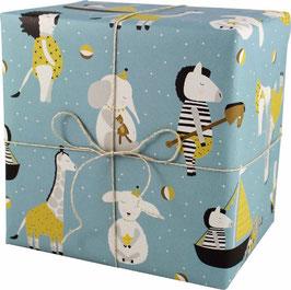 Geschenkpapier Tiere, blau (3 Bogen)
