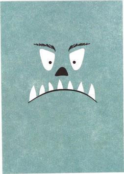 Postkarte Monster, hellblau
