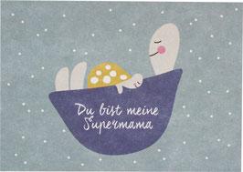 "Postkarte Schildkröte - ""Supermama"""