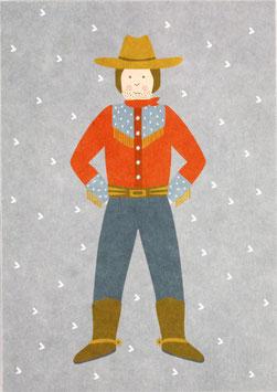 Postkarte Cowboy, hellblau (ohne Text)