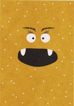 Postkarte Monster, gelb mit Punkten