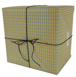 Geschenkpapier Sechsecke, blau (3 Bogen)