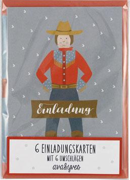 Einladungskarten-Set Cowboy  (6 Karten)