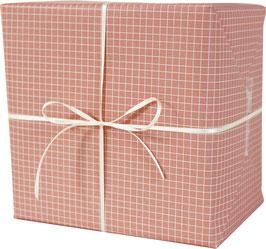 Geschenkpapier kariert, lachs/weiss (3 Bogen)