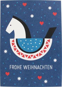 Postkarte Schaukelpferd, blau - Frohe Weihnachten