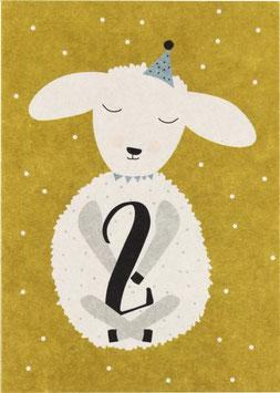 "Postkarte Lamm - ""2"""