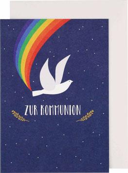 """Klappkarte Taube, blau - """"Zur Kommunion"""""""