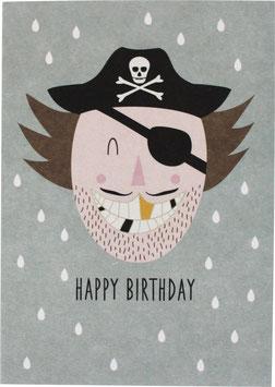 """Postkarte Pirat - """"Happy Birthday"""""""