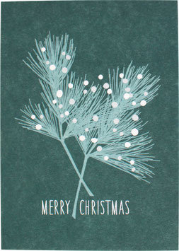 Postkarte Zweig, grün - Merry Christmas