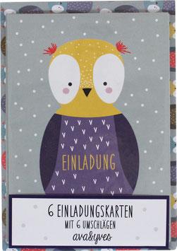 Einladungskarten-Set Eule  (6 Karten)