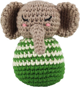 Häkelrassel Elefant, grün