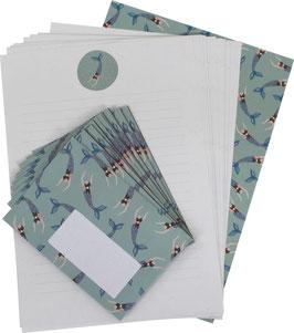Briefpapier-Set Meerjungfrau (20 Bögen A4, 10 Umschläge C6)