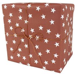 Geschenkpapier mit weissen Sternen, rost (3 Bogen)