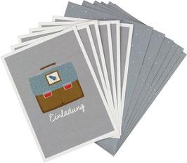 Einladungskarten-Set Schulranzen mit Rakete  (6 Karten)