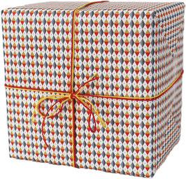 Geschenkpapier Rauten rot/blau/gold (3 Bogen)