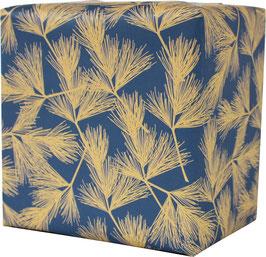 Geschenkpapier Tannenzweige, blau/ocker (3 Bogen)