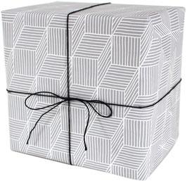 Geschenkpapier Streifenspiel, hellgrau (3 Bogen)