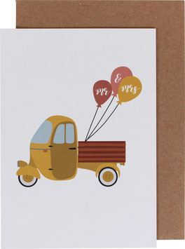 "Klappkarte TucTuc mit Ballons - ""Mr. & Mrs,"""
