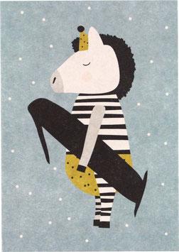 """Postkarte Zebra - """"1"""""""