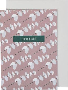 """Klappkarte kleine Blätterzweige, rosa - """"Zur Hochzeit"""""""