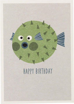 "Postkarte Kugelfisch, grün - ""Happy Birthday"""