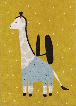 "Postkarte Giraffe - ""4"""