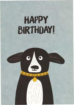 """Postkarte Hund mit Halsband - """"Happy Birthday"""""""