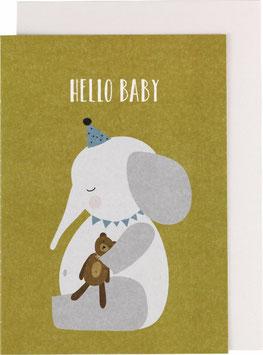 "Klappkarte Elefant - ""Hello Baby"""