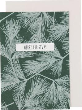 Klappkarte Tannenzweige, dunkelgrün - Merry Christmas