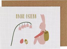 "Klappkarte Hase sitzend, rosa - ""Frohe Ostern"""