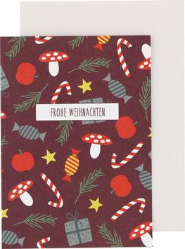 Klappkarte Apfel/Zuckerstange, aubergine - Frohe Weihnachten