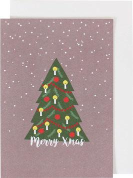 Klappkarte Weihnachtsbaum und Schneeflocken, mattviolett - Merry Xmas