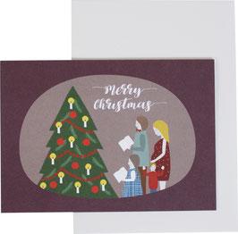 """Klappkarte Weihnachtsfamilie, dunkelrot - """"Merry Christmas"""""""