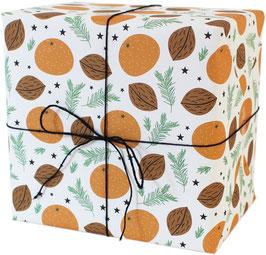 Geschenkpapier Mandarinen, weiß (3 Bogen)