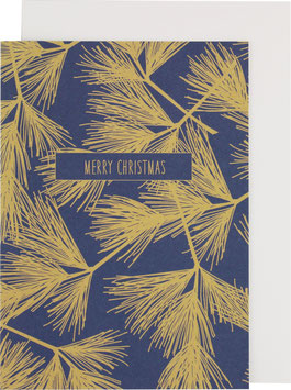 "Klappkarte Tannenzweige, blau/gold - ""Merry Christmas"""