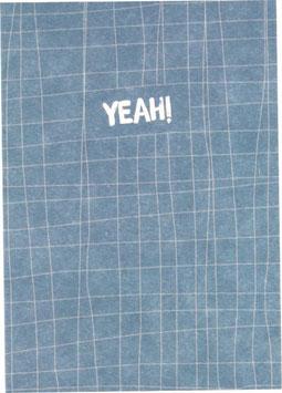 "Postkarte Fäden, blau/weiss - ""Toi Toi Toi"""
