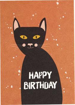 "Postkarte Siamkatze, schwarz - ""Happy Birthday"""