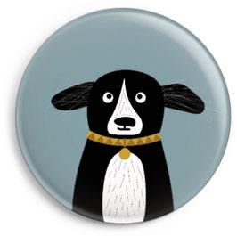 Magnet Hund schwarz mit Halsband (32 mm)