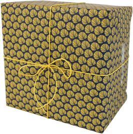 Geschenkpapier Palmwedel, marine/ocker (3 Bogen)
