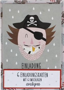 Einladungskarten-Set Pirat  (6 Karten)